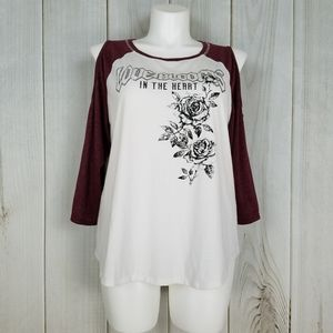 Torrid Size 1 Maroon White Cold Shoulder Tee Shirt